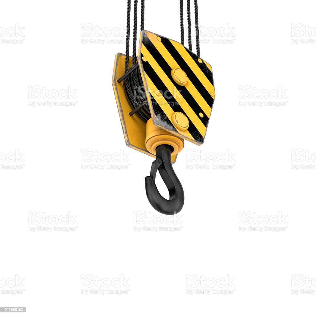 Rendering of tower crane hook isolated on the white background. stock photo