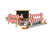 Rendering of traffic cones, fences and cable coil isolated on