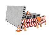 Rendering of traffic fences, cones, helmet and concrete floor slabs