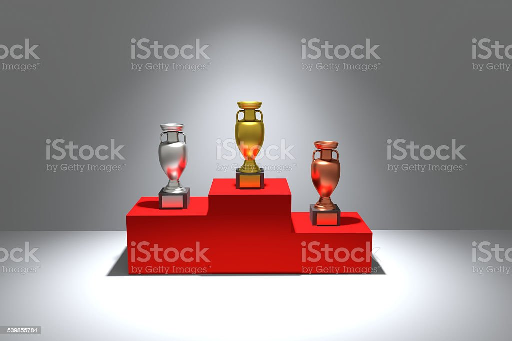 3D rendering of trophies on a podium stock photo