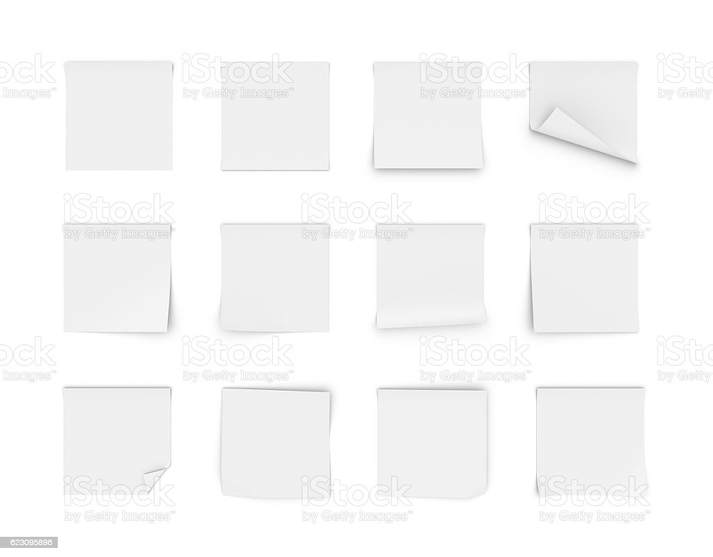 Rendering of twelve blank white stickers stock photo