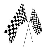 3D rendering of two checkered flags for racing