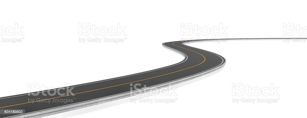 Rendering of two-way road bending, on white background. stock photo