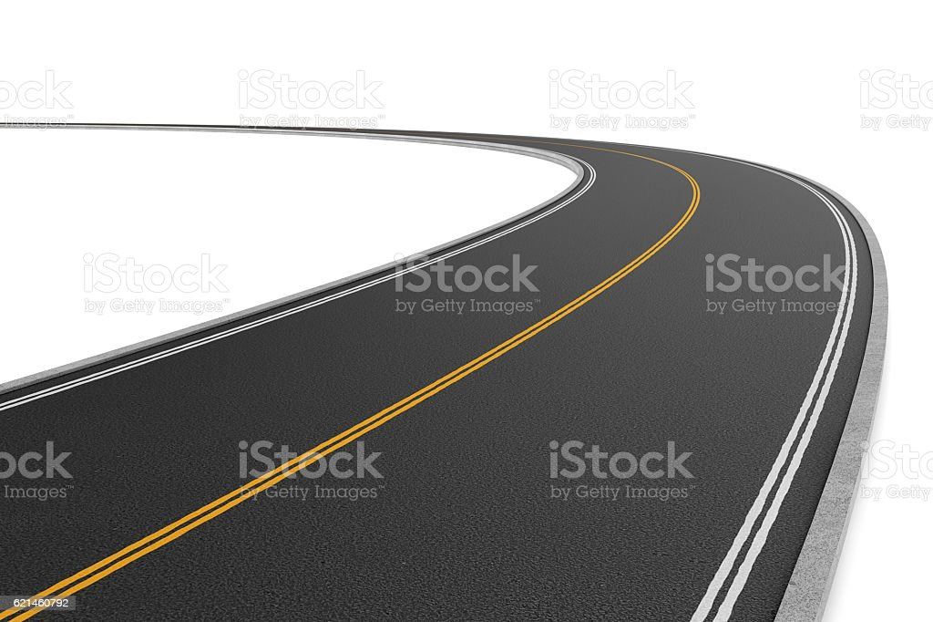 Rendering of two-way road bending to the left on stock photo