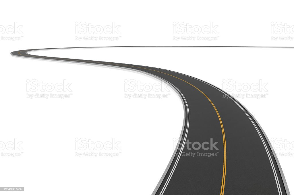 Rendering of two-way winding road bending to the left stock photo