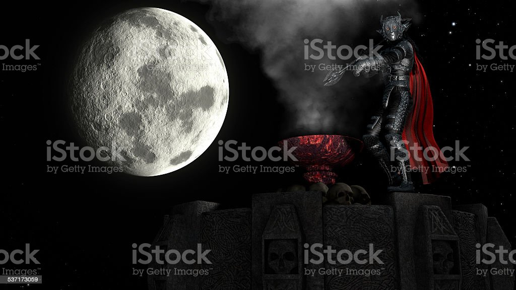3D rendering of Warrior on Tower at moon background stock photo