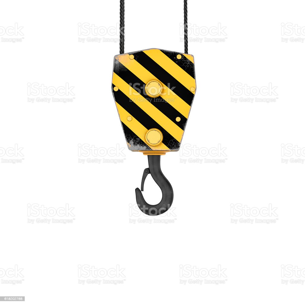 Rendering of yellow and black striped hook, isolated on white stock photo