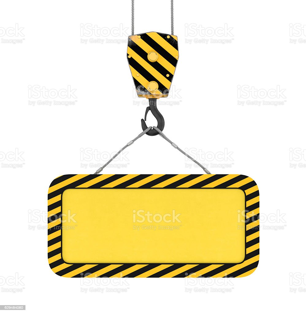 Rendering of yellow board hanging on hook with two ropes stock photo