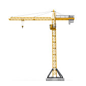 Rendering of yellow tower crane full-height isolated on the