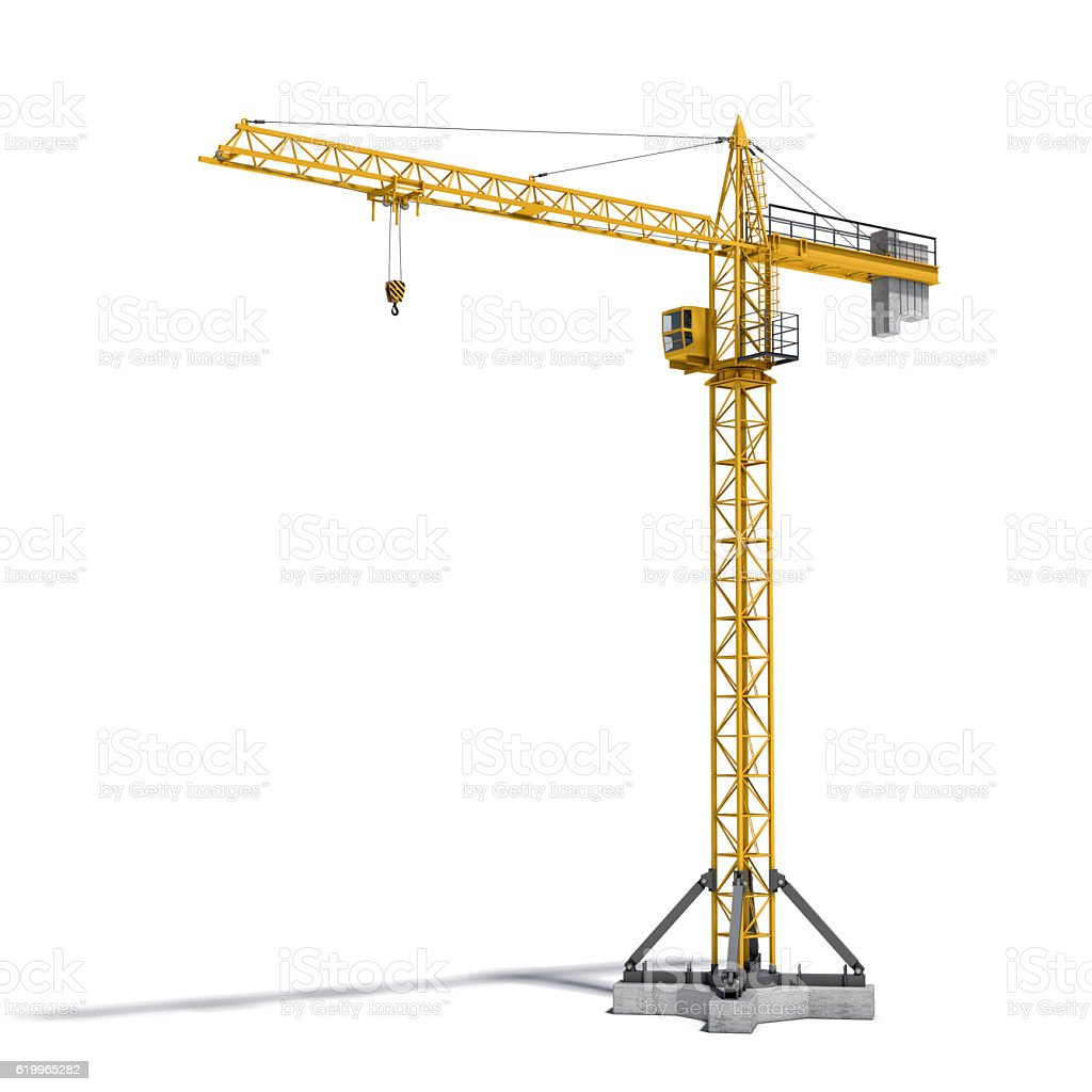 Rendering of yellow tower crane full-height isolated on the stock photo
