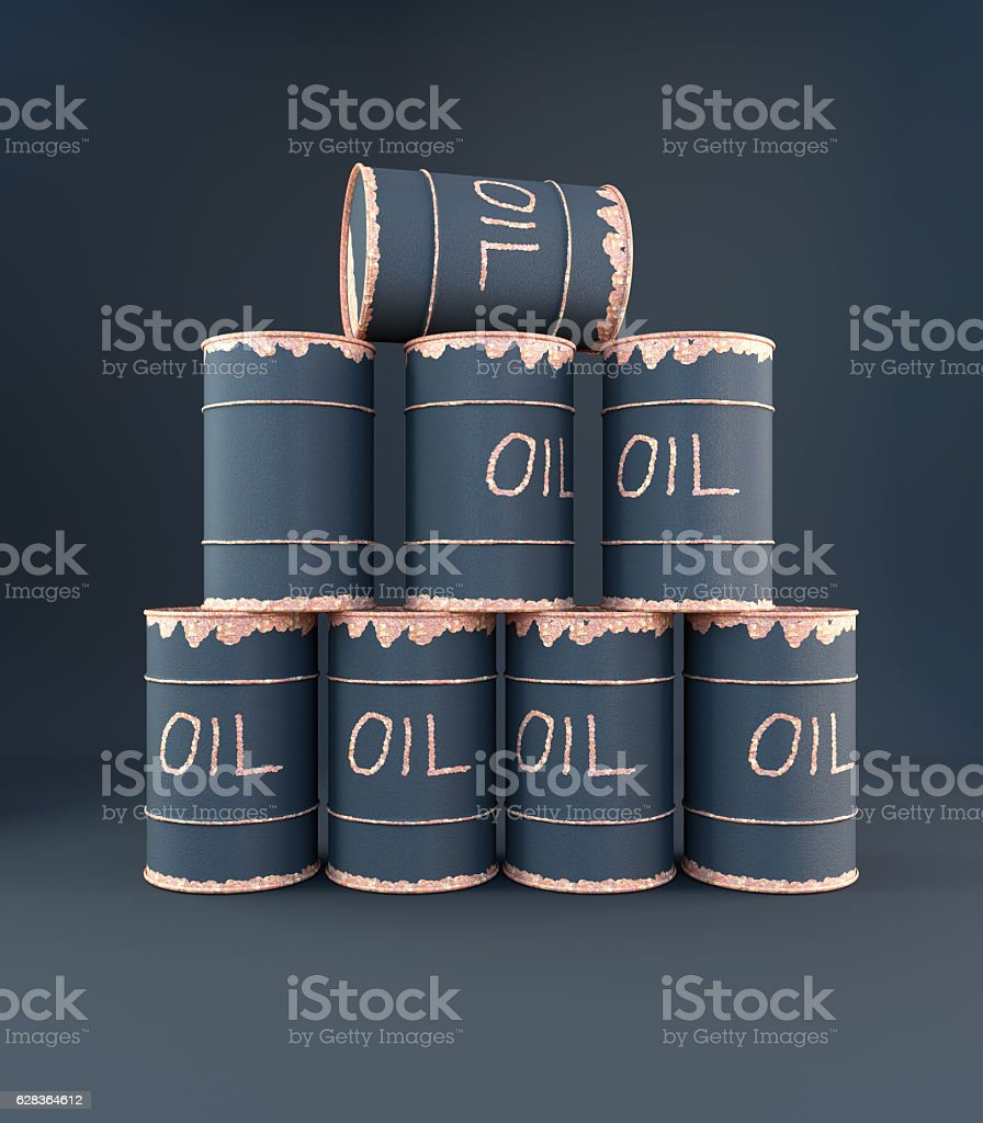3D rendering oil can pyramid stock photo