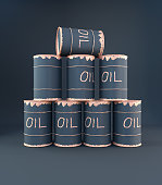 3D rendering oil can pyramid