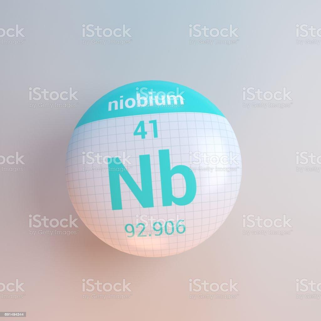 3D rendering periodic table icon niobium stock photo