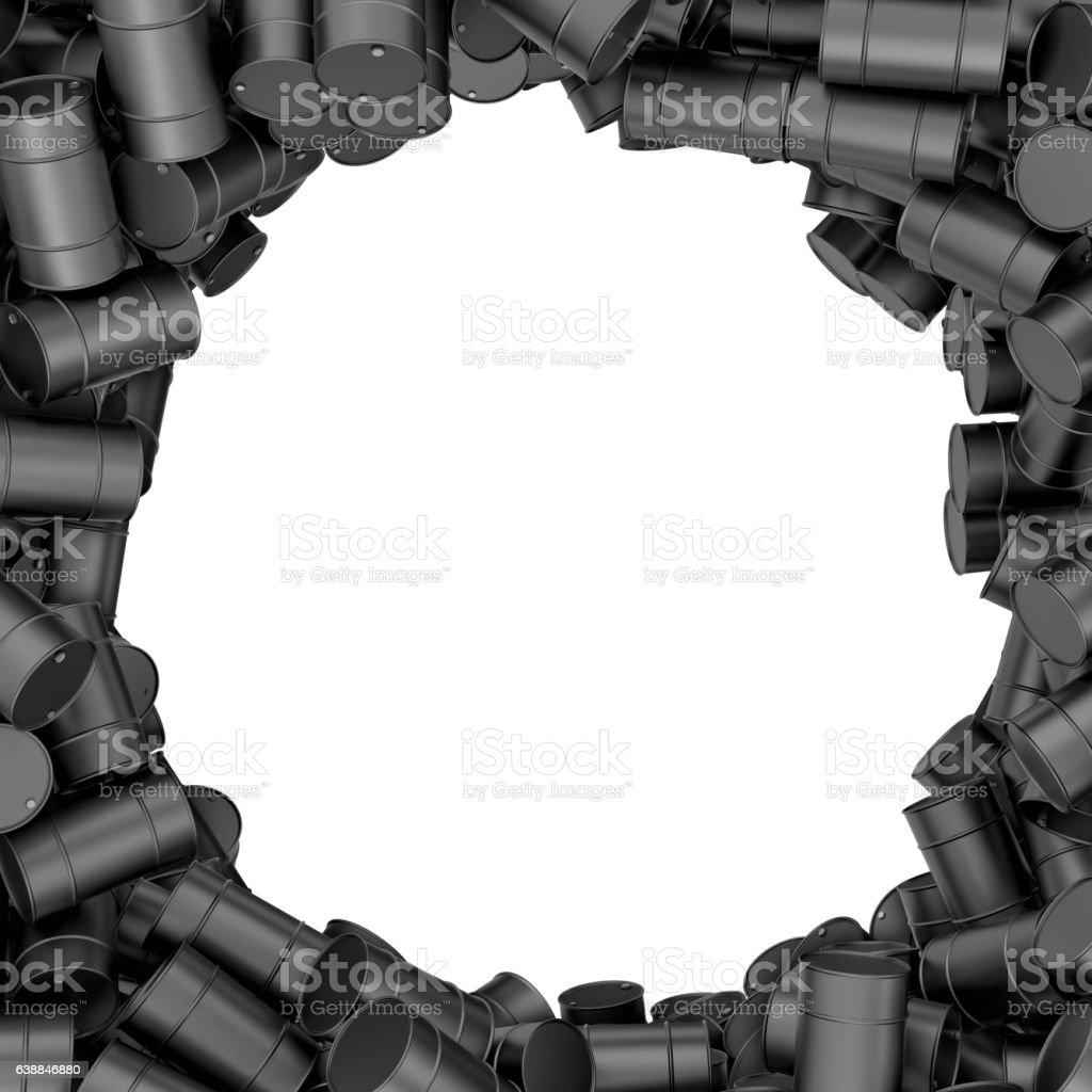 Rendering round frame of black oil barrels on white background stock photo
