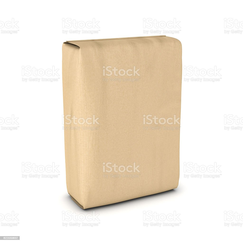 Rendering sack of cement isolated on white background stock photo