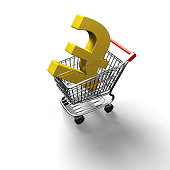 3D rendering shopping cart with golden pound sterling symbol