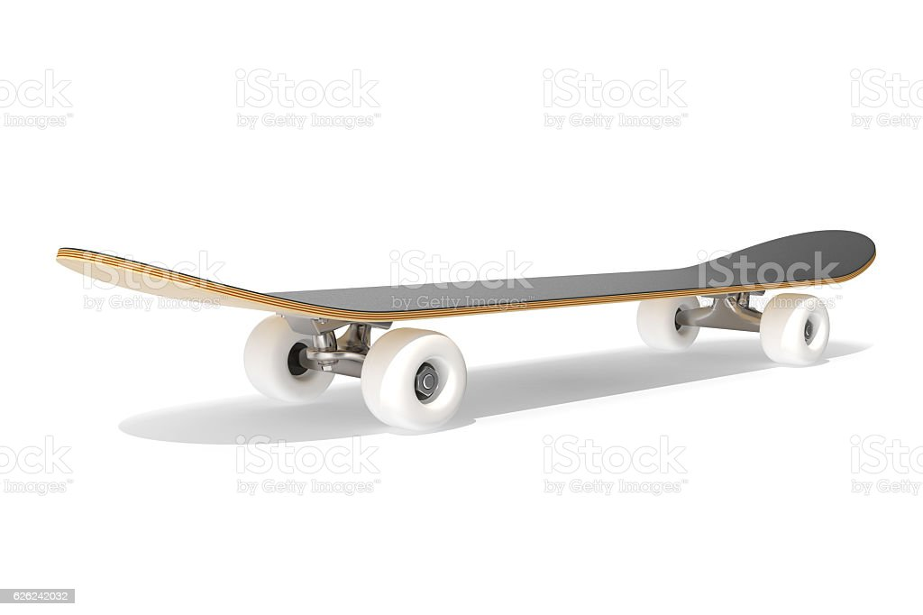 rendering skateboard deck isolated on white background. stock photo