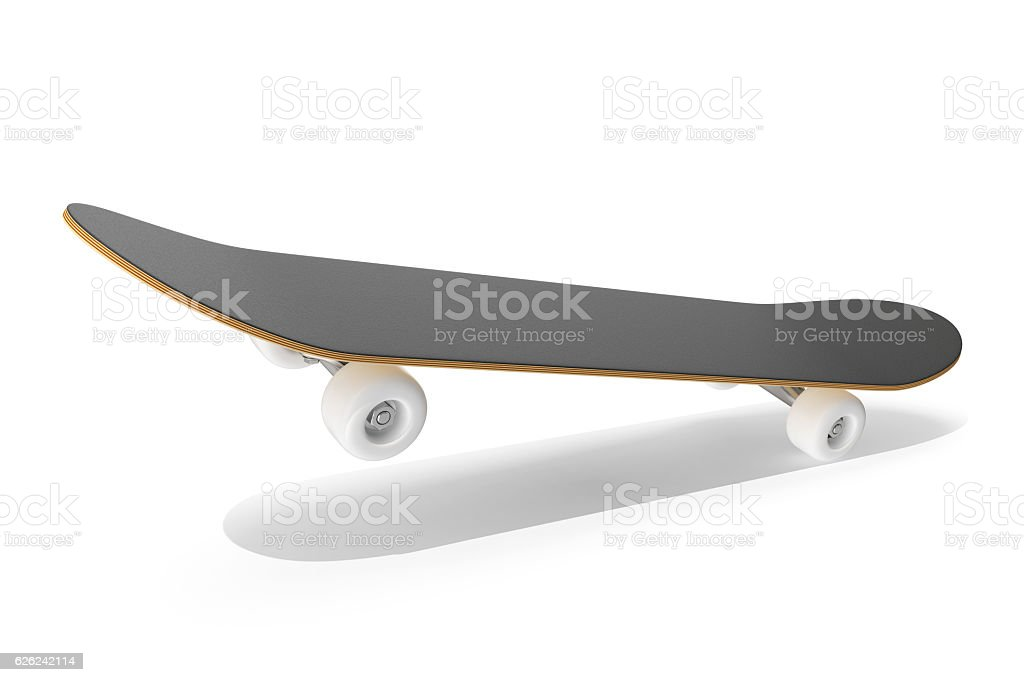rendering skateboard on air isolated  white background. stock photo