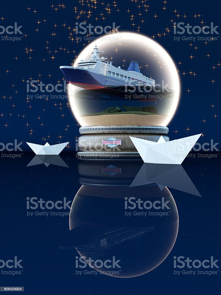 3D rendering Snow globe royalty-free stock photo