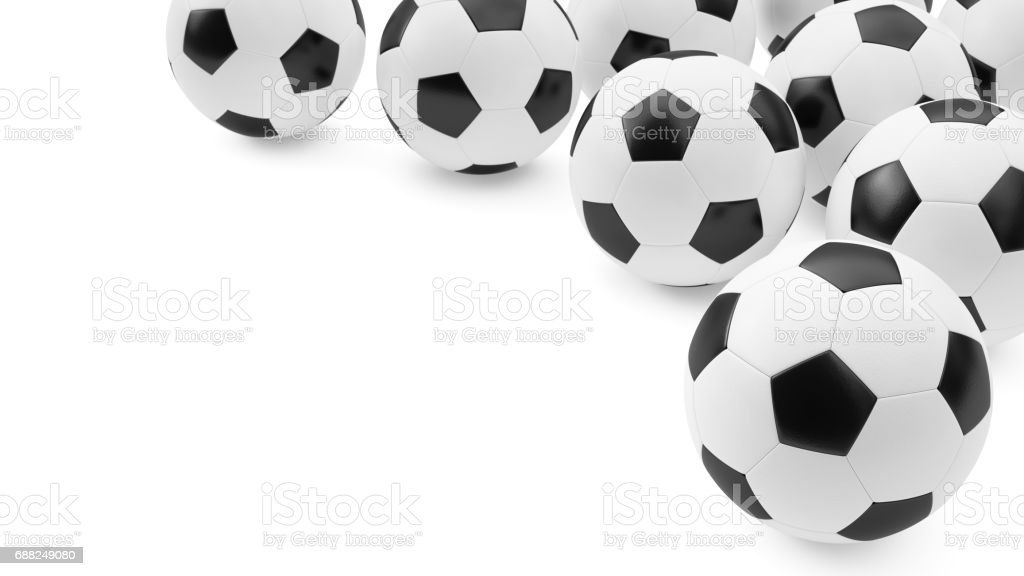 3D rendering Soccer balls background stock photo