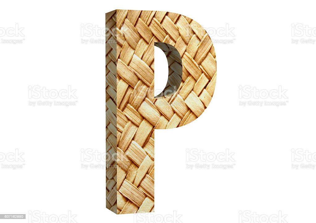 3D Rendering Straw P Font 3D Illustration stock photo
