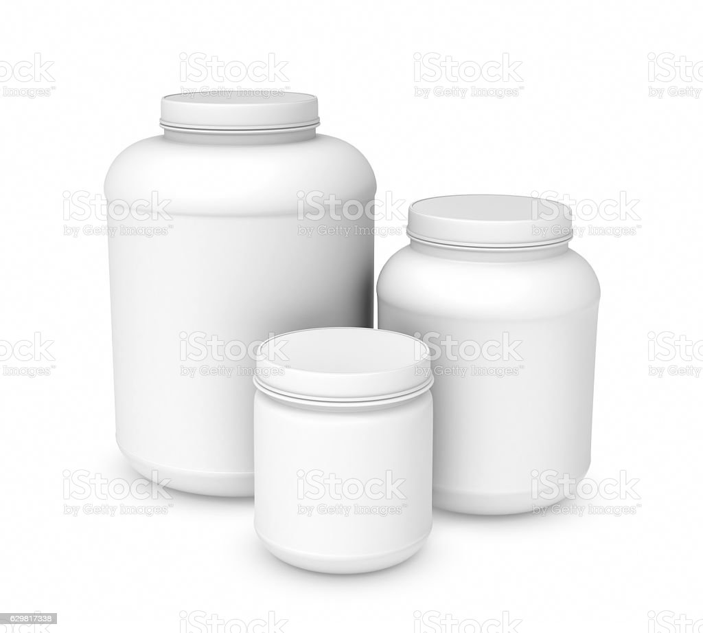 Rendering three white blank plastic jars of different sizes stock photo