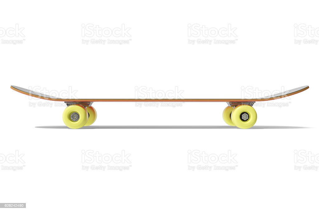 rendring red skateboard isolated on white background, side view stock photo