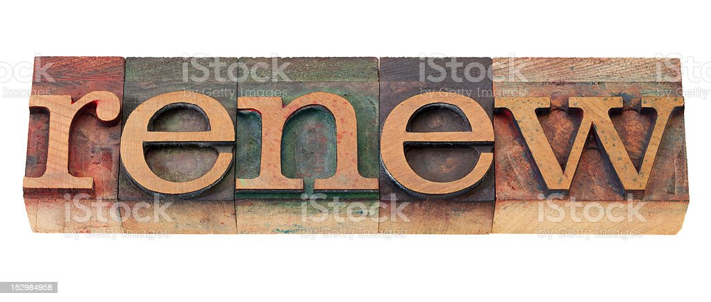 renew word in wood fonts royalty-free stock photo