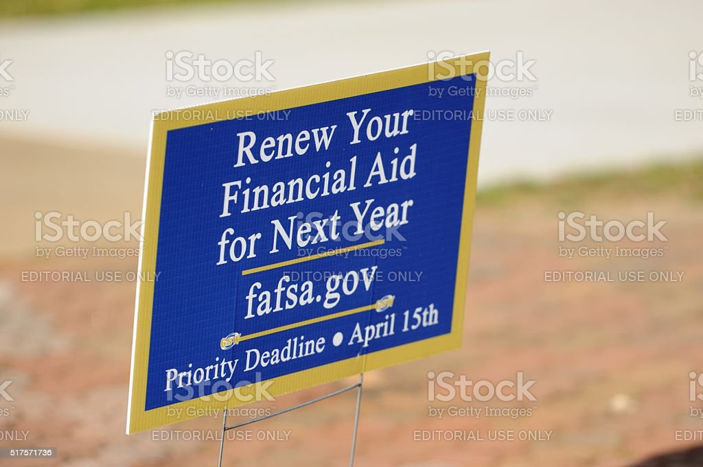 Renew your finanical aid for next year at fafsa sign stock photo