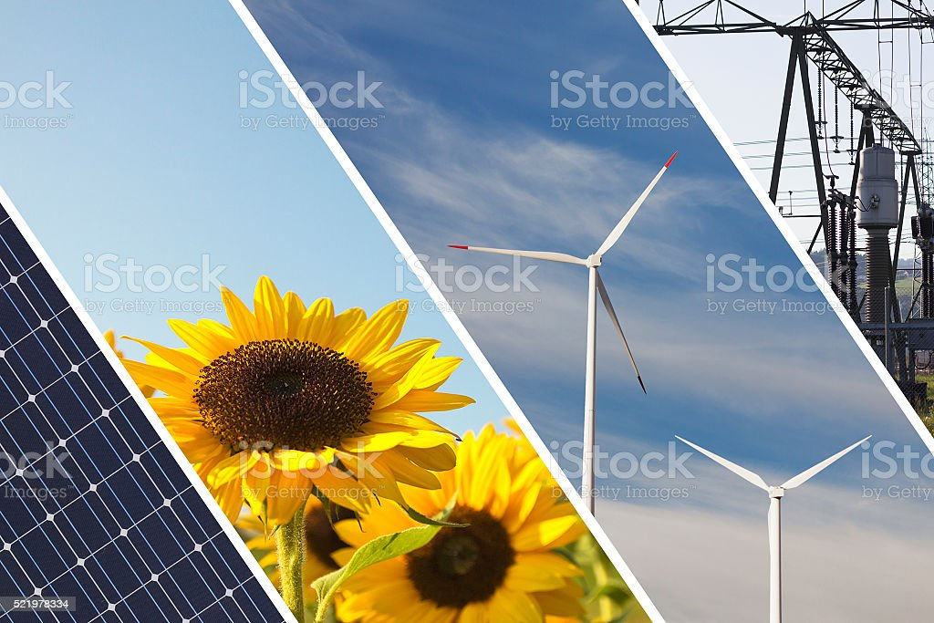 Renewable energies concept collage stock photo