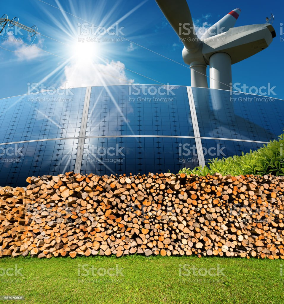 Renewable Energies Sources - Wind Solar Biomass stock photo