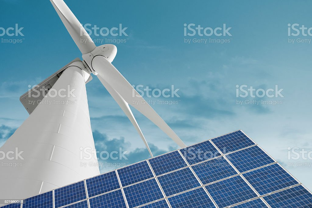 Renewable energies with wind generator and photovoltaic panel stock photo