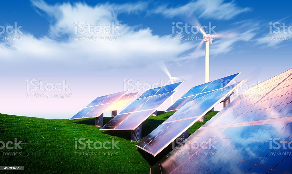 Renewable energy concept vector art illustration