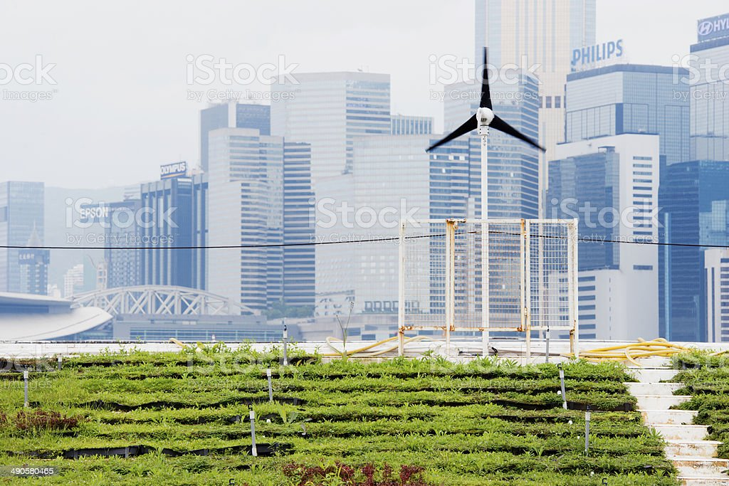 Renewable Energy Green Urban Farming in Hong Kong China stock photo