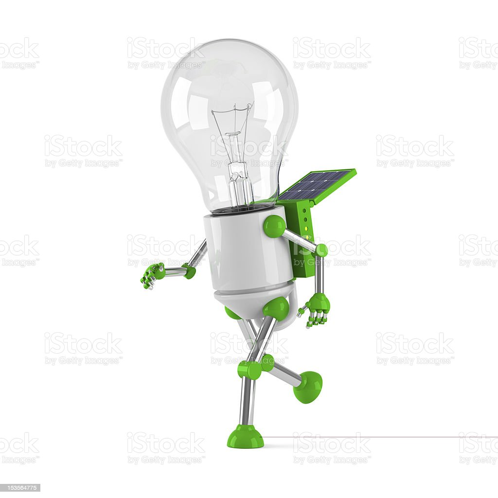 renewable energy light bulb robot running stock photo  battery concepts topics glass material jogging light bulb renewable energy