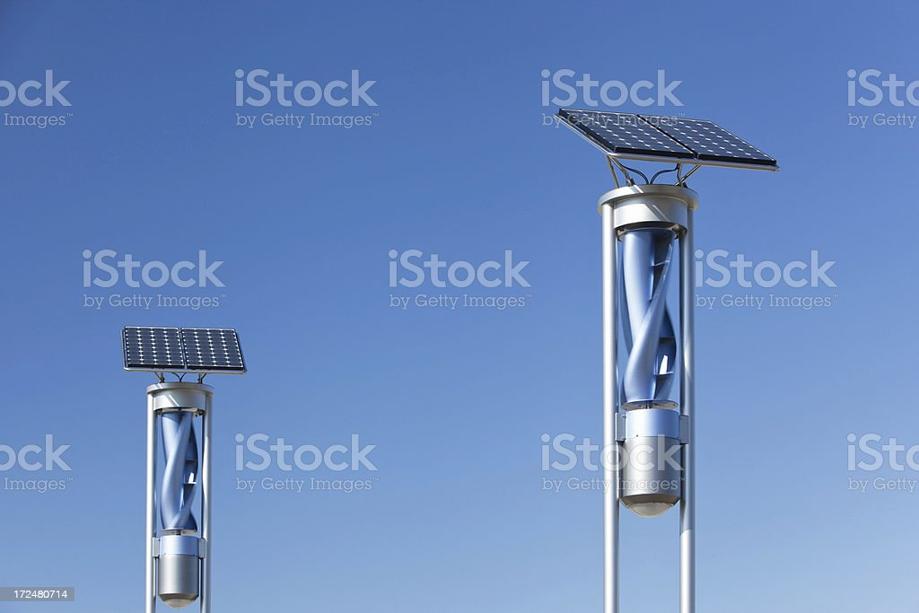 Renewable Energy Lights with Solar Panels and Wind Turbines royalty-free stock photo