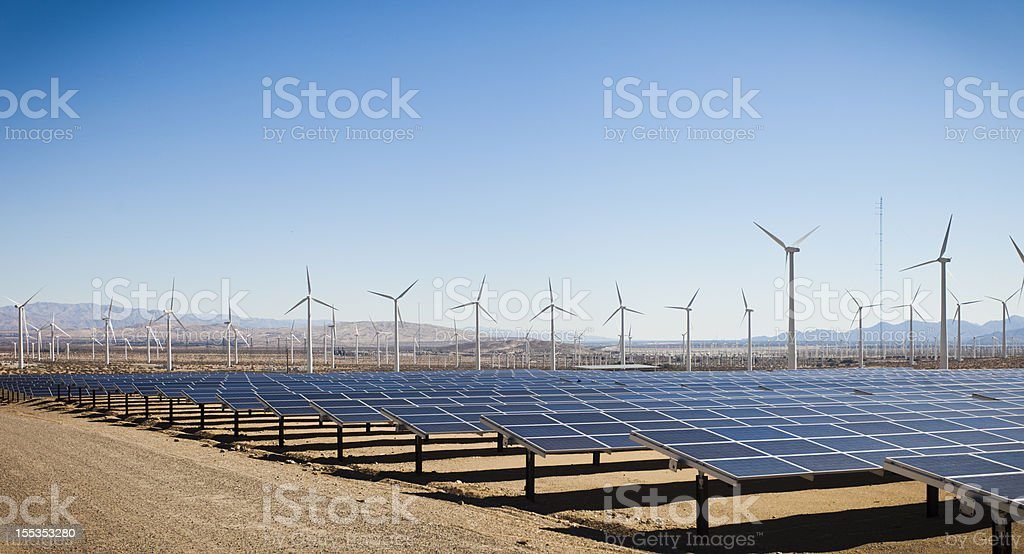 Renewable Energy - Solar and Windmills stock photo