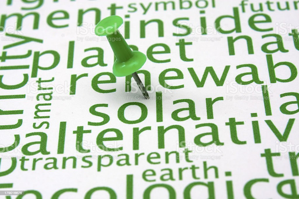 Renewable energy word cloud royalty-free stock photo