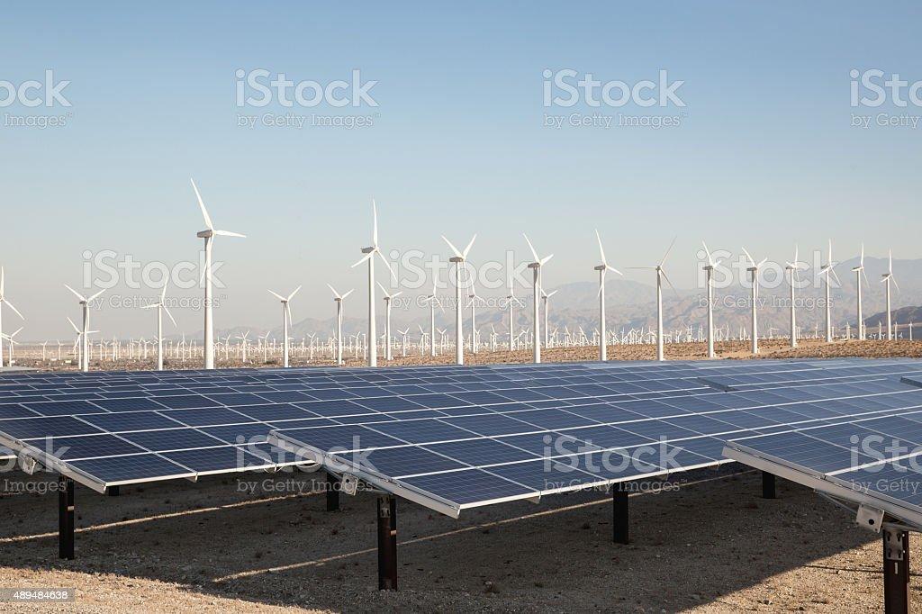 Renewable Solar Energy and Windmills stock photo