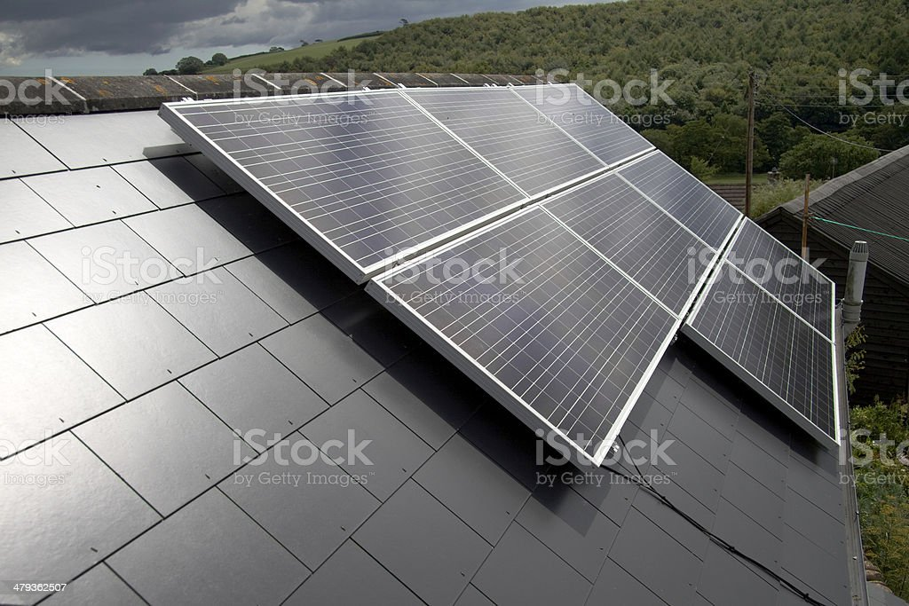 Renewable Technology: Photovoltaic Solar Panels stock photo