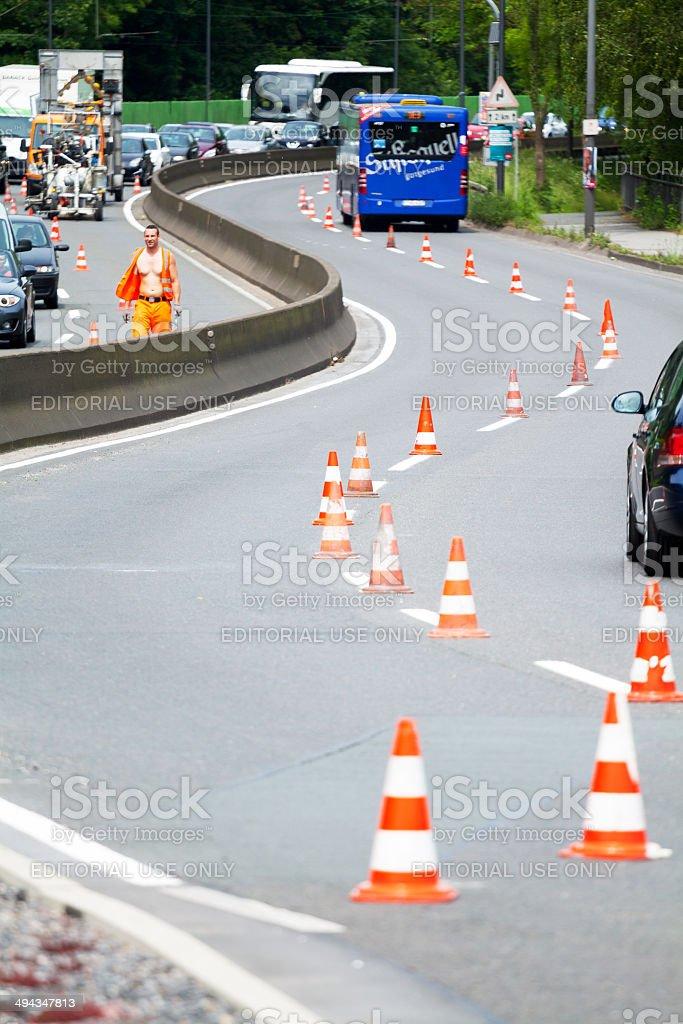 Renewing road marking royalty-free stock photo