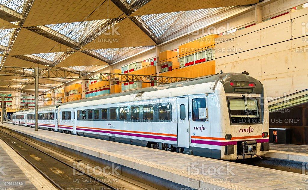 Renfe Media Distancia train at Zaragoza-Delicias station stock photo
