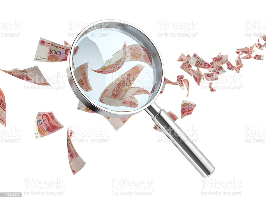 renminbi currency and hand glass royalty-free stock photo