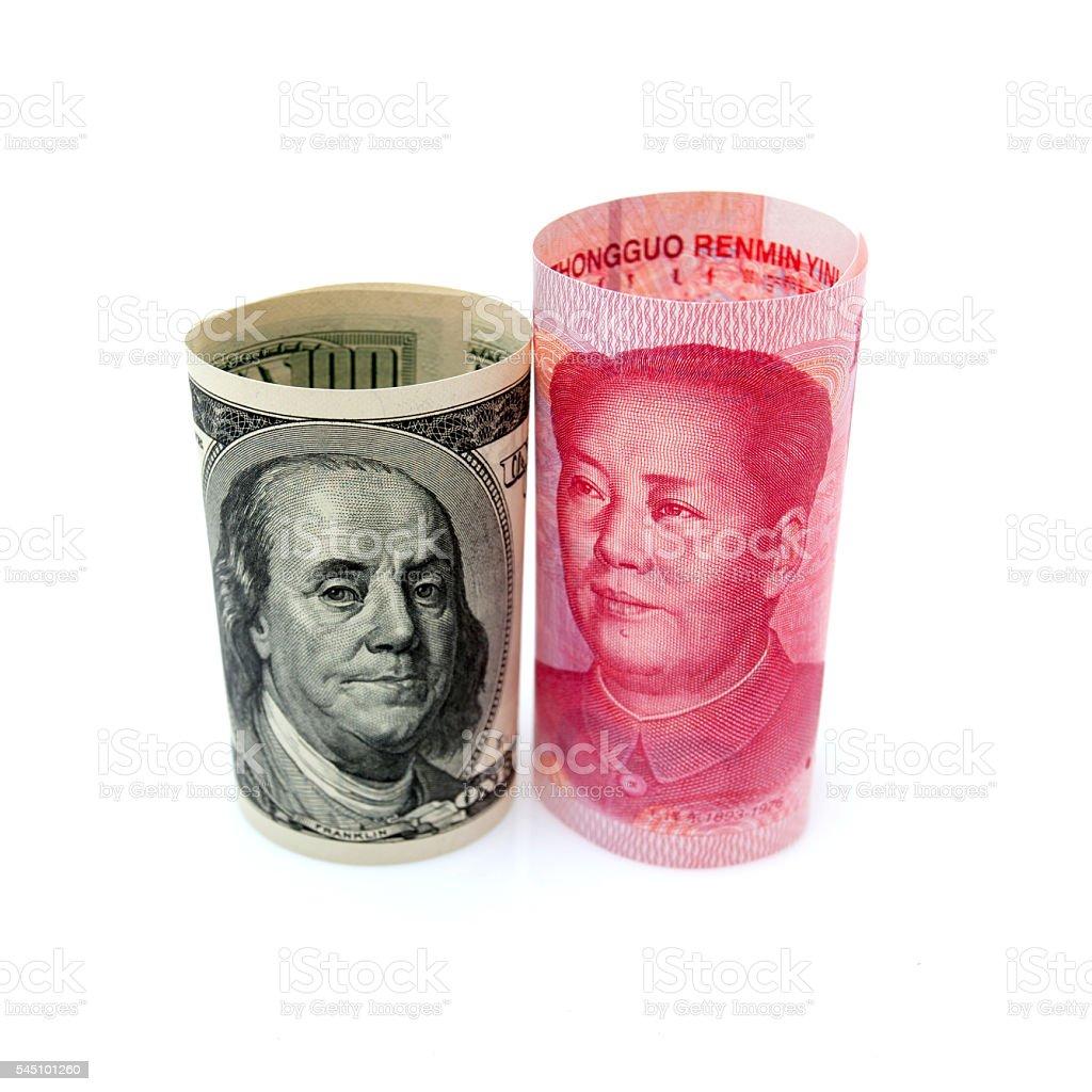 Renminbi & U.S. dollar isolated on white background stock photo