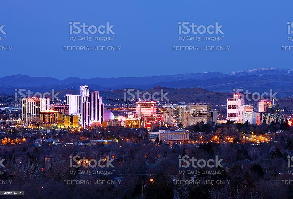 Reno at night stock photo