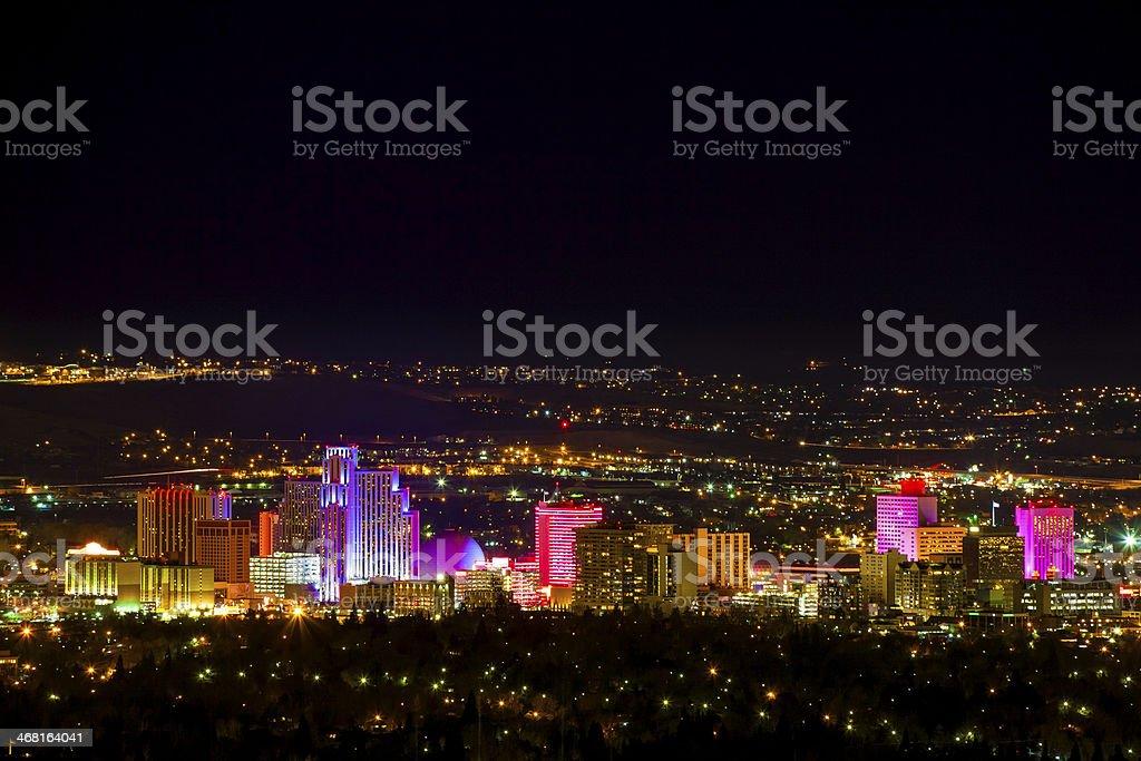 Reno Nevada cloroful Skyline Cityscape Panorama night with copyspace stock photo