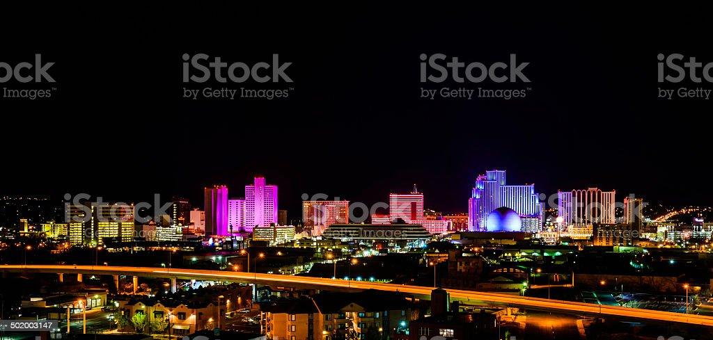 Reno Nevada colorful panoramic skyline cityscape stock photo