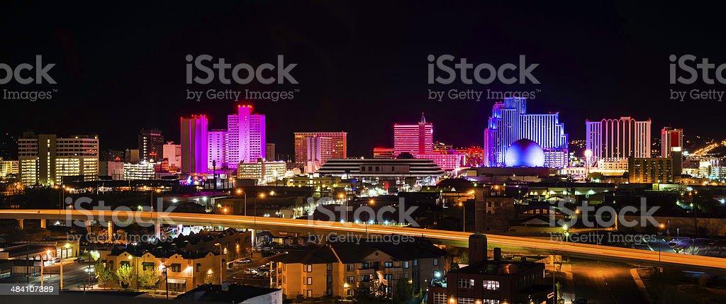Reno Nevada Skyline Cityscape Panorama night - banner format stock photo