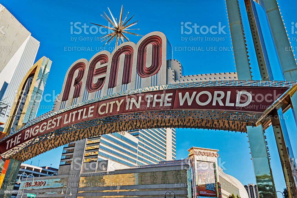 Reno Welcome Sign from Below stock photo