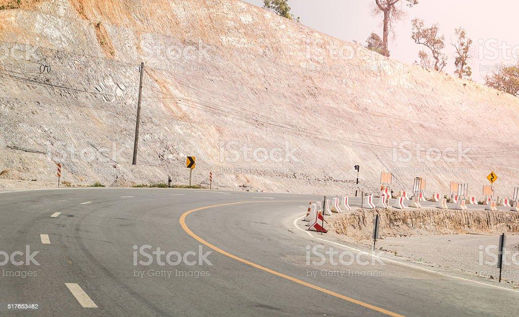 Renovate road pass thru the mountain stock photo